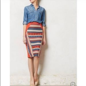 Anthropologie embroidered stretchy pencil skirt